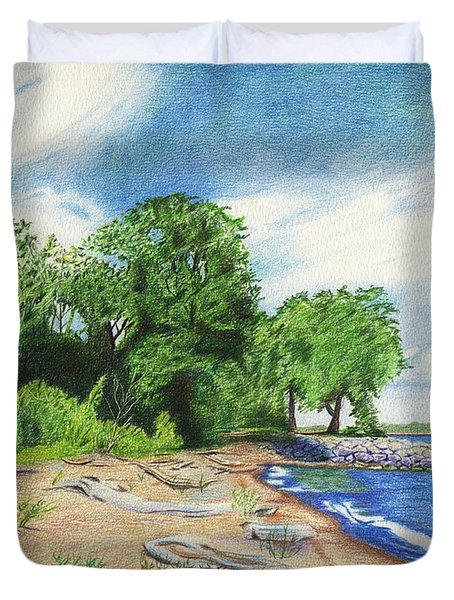 Duvet Cover featuring the drawing Old Woman Creek - Huron Ohio by Shawna Rowe