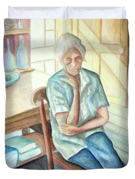 Old Woman Duvet Cover by Nancy Mueller