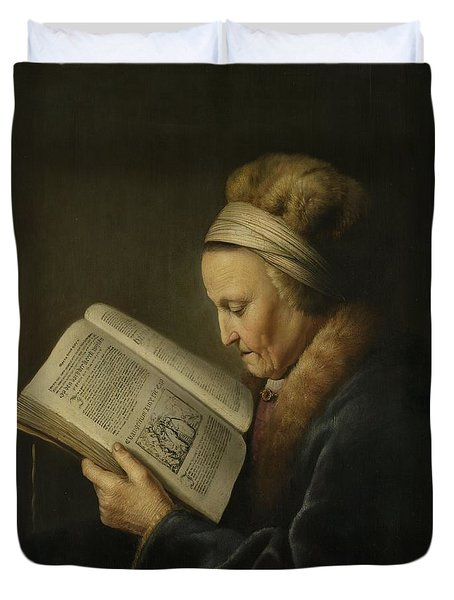 Old Woman Reading Duvet Cover by Gerard Dou