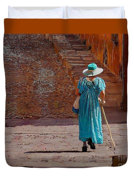 A Woman Walking Home Duvet Cover