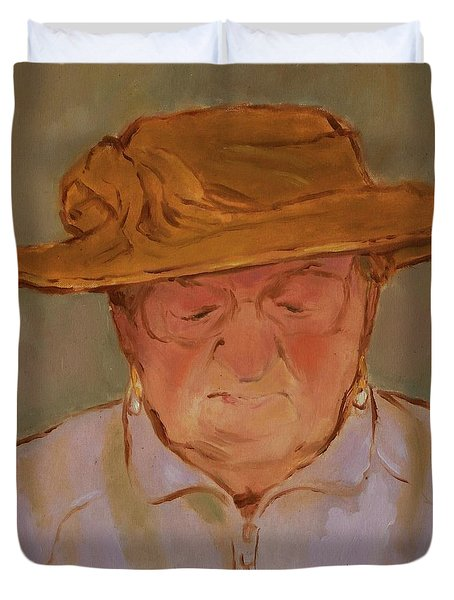 Old Woman With Yellow Hat Duvet Cover
