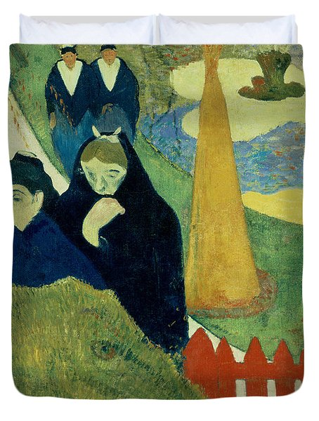 Old Women Of Arles Duvet Cover by Paul Gauguin