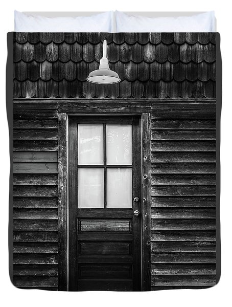 Old Wood Door And Light Black And White Duvet Cover by Terry DeLuco