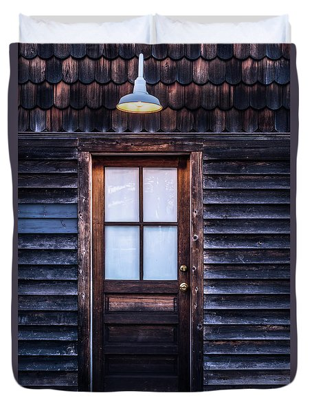 Old Wood Door And Light Duvet Cover by Terry DeLuco