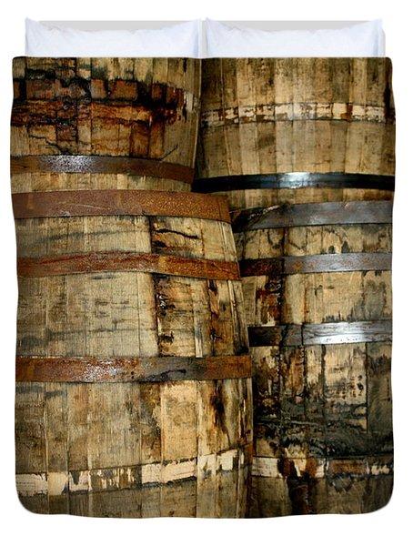 Old Wood Whiskey Barrels Duvet Cover