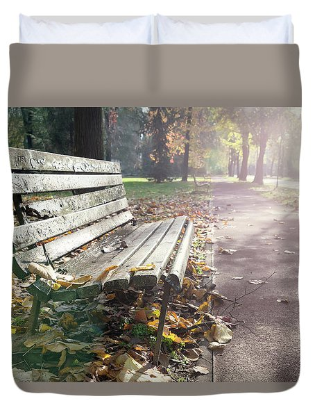 Rustic Wooden Bench During Late Autumn Season On Bright Day Duvet Cover