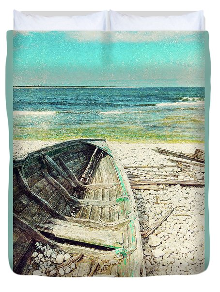 Old Wooden Boat On The Seashore, Retro Image Duvet Cover
