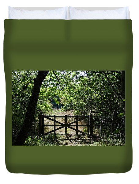 Duvet Cover featuring the photograph Old Wooden Gate by Kennerth and Birgitta Kullman
