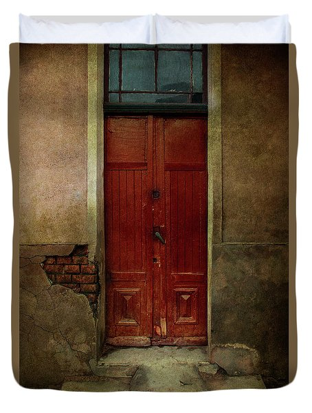 Old Wooden Gate Painted In Red  Duvet Cover by Jaroslaw Blaminsky