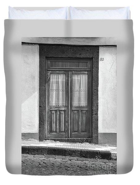 Old Wooden House Door Duvet Cover