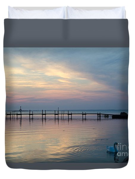 Old Wooden Pier At Twlight Duvet Cover