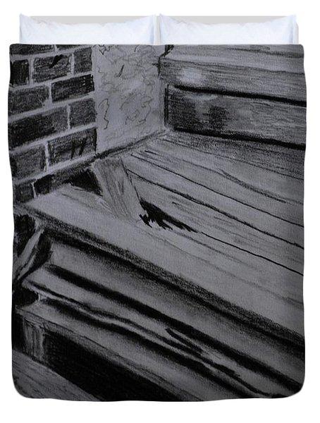 Old Wooden Steps In Milang Duvet Cover