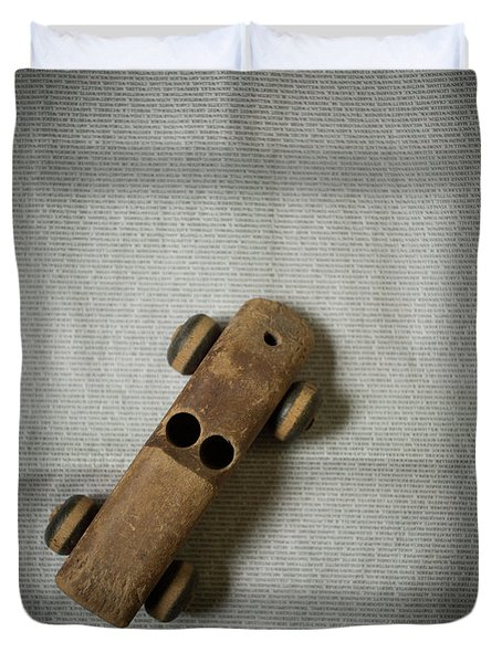 Duvet Cover featuring the photograph Old Wooden Toy Car Still Life by Edward Fielding