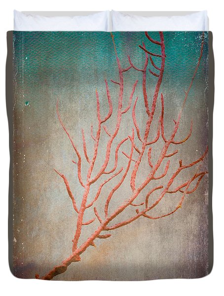 Old World Treasures - Red Coral Duvet Cover by Colleen Kammerer