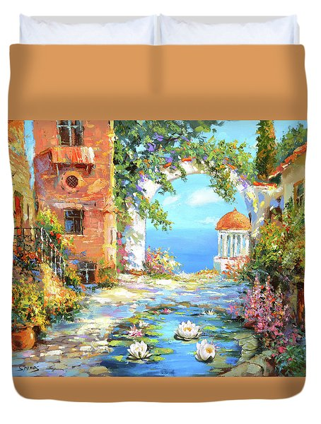 Duvet Cover featuring the painting Old Yard  by Dmitry Spiros