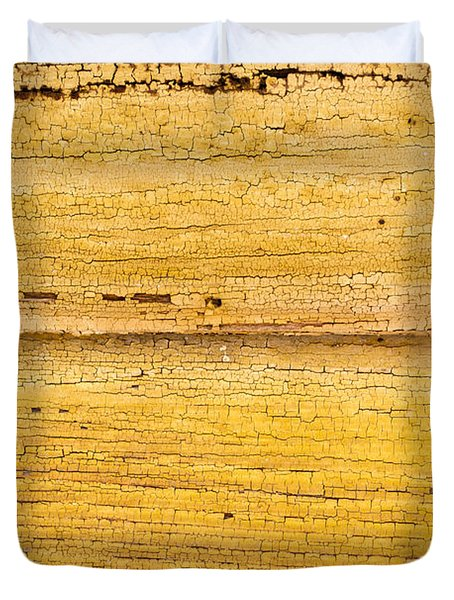 Duvet Cover featuring the photograph Old Yellow Paint On Wood by John Williams