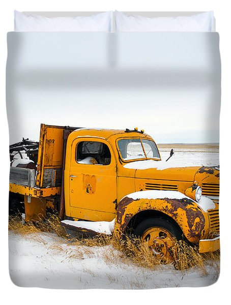Old Yellow Duvet Cover by Todd Klassy