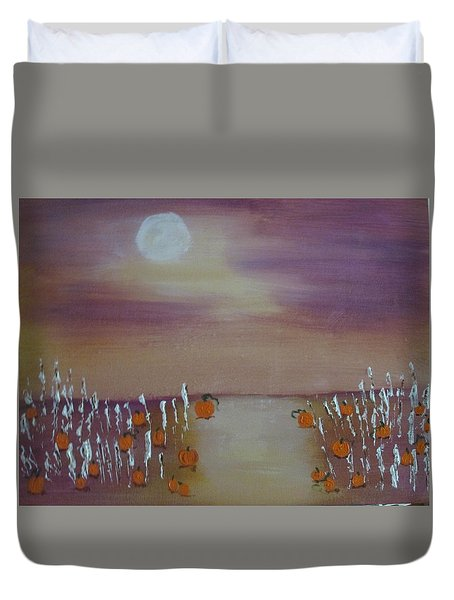 Olde Tyme Pumpkin Patch And Maze Duvet Cover by Sharyn Winters