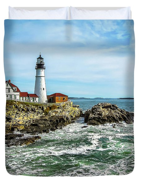 Oldest Lighthouse In Maine Duvet Cover