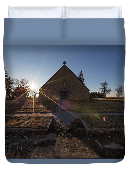 Duvet Cover featuring the photograph Oldham, Sd by Aaron J Groen