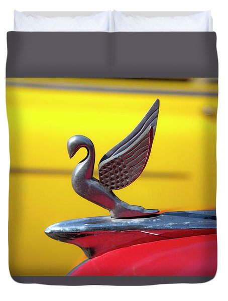 Duvet Cover featuring the photograph Oldsmobile Packard Hood Ornament Havana Cuba by Charles Harden