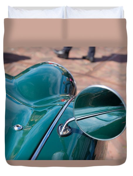 Duvet Cover featuring the photograph Oldtimer Mirror by Hans Engbers