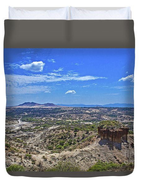 Duvet Cover featuring the photograph Olduvai Gorge - The Cradle Of Mankind by Pravine Chester