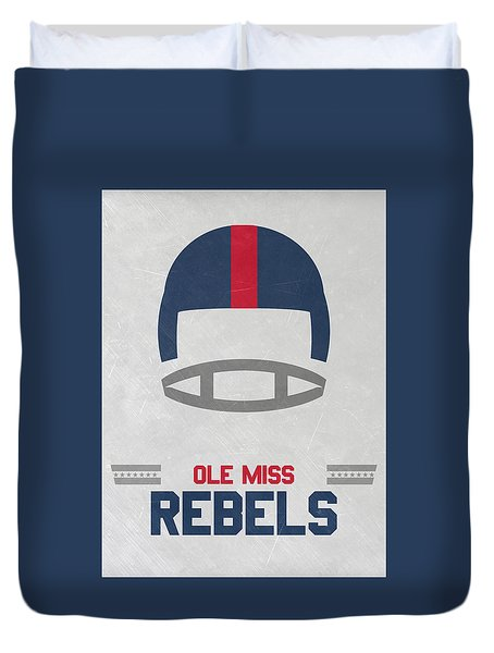 Ole Miss Rebels Vintage Football Art Duvet Cover by Joe Hamilton