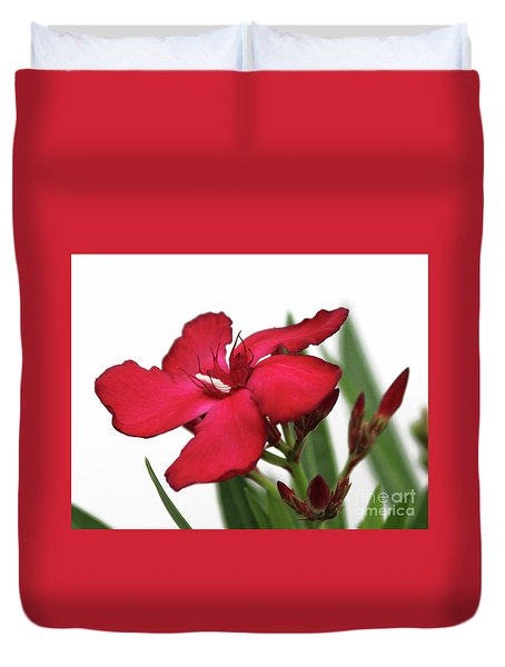 Duvet Cover featuring the photograph Oleander Blood-red Velvet 2 by Wilhelm Hufnagl