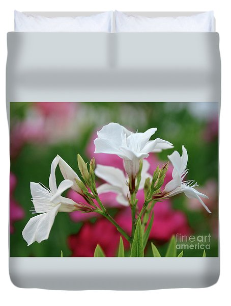 Duvet Cover featuring the photograph Oleander Casablanca 1 by Wilhelm Hufnagl