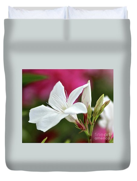 Duvet Cover featuring the photograph Oleander Casablanca 2 by Wilhelm Hufnagl