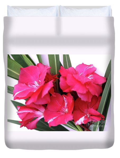 Duvet Cover featuring the photograph Oleander Geant Des Batailles 1 by Wilhelm Hufnagl