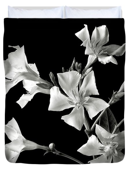 Oleander In Black And White Duvet Cover by Endre Balogh