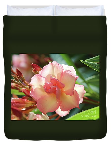 Duvet Cover featuring the photograph Oleander Mrs. Roeding 1 by Wilhelm Hufnagl