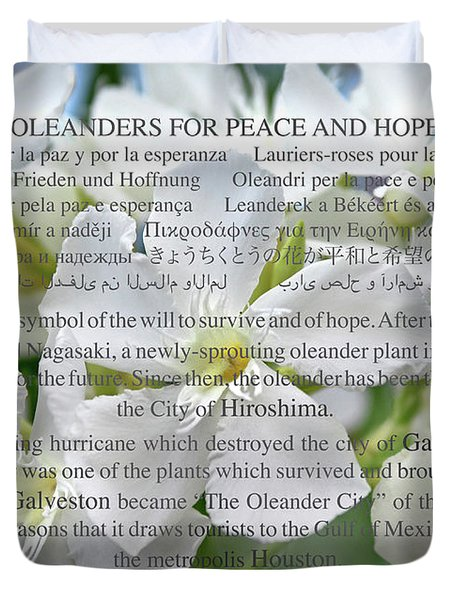 Oleanders For Peace And Hope Duvet Cover