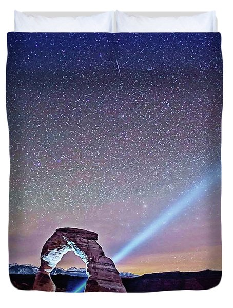 Olena Art Starry Night Pointer At Delicate Arch Moab National Park Duvet Cover