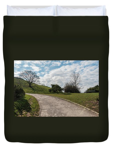Duvet Cover featuring the photograph Olimpia Park. Munich by Sergey Simanovsky