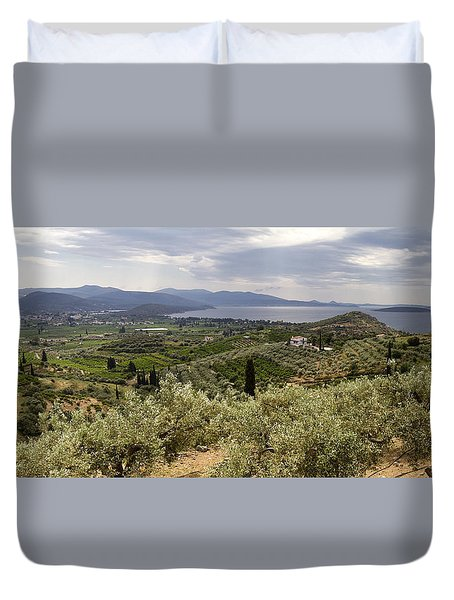 Duvet Cover featuring the photograph Olive Groves Panorama by Shirley Mitchell