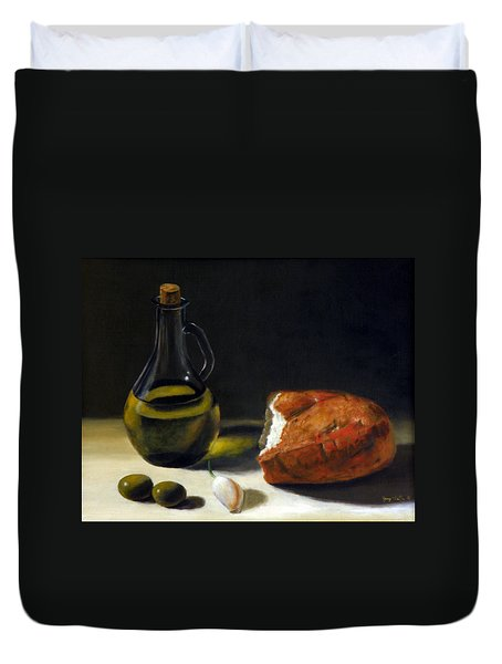 Olive Oil And Bread Duvet Cover