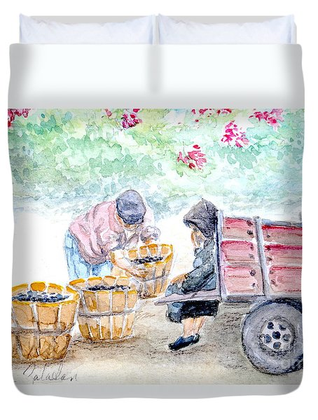 Duvet Cover featuring the painting Olive Pickers by Marilyn Zalatan