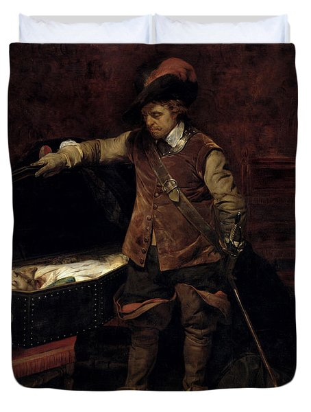 Oliver Cromwell Opening The Coffin Of Charles I  Duvet Cover by Hippolyte Delaroche