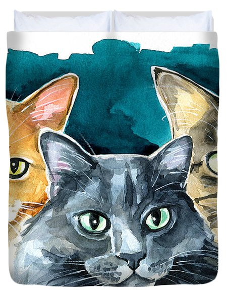 Oliver, Willow And Walter - Cat Painting Duvet Cover