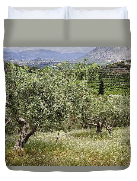 Duvet Cover featuring the photograph Olives by Shirley Mitchell