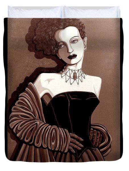 Olivia In Sepia Tone Duvet Cover by Tara Hutton