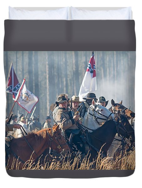 Olustee Confederate Charge Duvet Cover by Kenneth Albin
