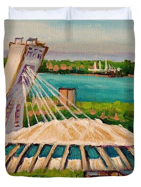 Olympic Stadium  Montreal Duvet Cover by Carole Spandau