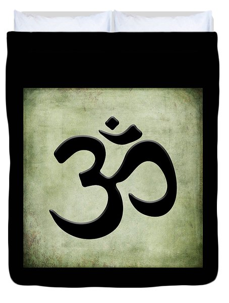 Duvet Cover featuring the painting Om Green by Kandy Hurley