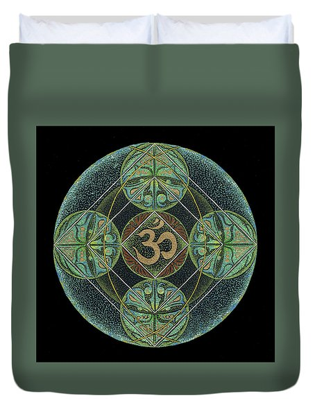 Duvet Cover featuring the painting Om by Keiko Katsuta