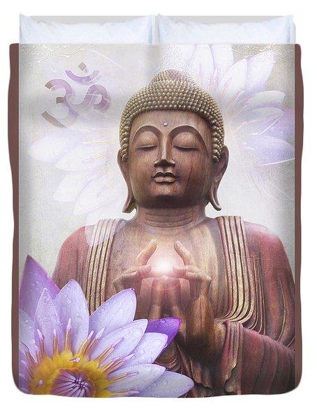 Om Mani Padme Hum - Buddha Lotus Duvet Cover