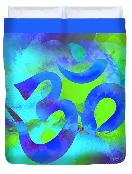 Om Symbol, Green And Blue Duvet Cover
